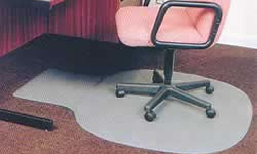 large hardwearing and bevelled anti trip edged rubber desk chair mat